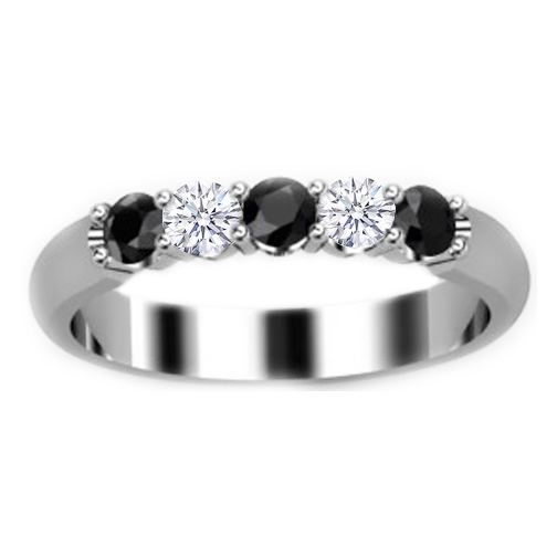 Black and White Diamond Wedding Band