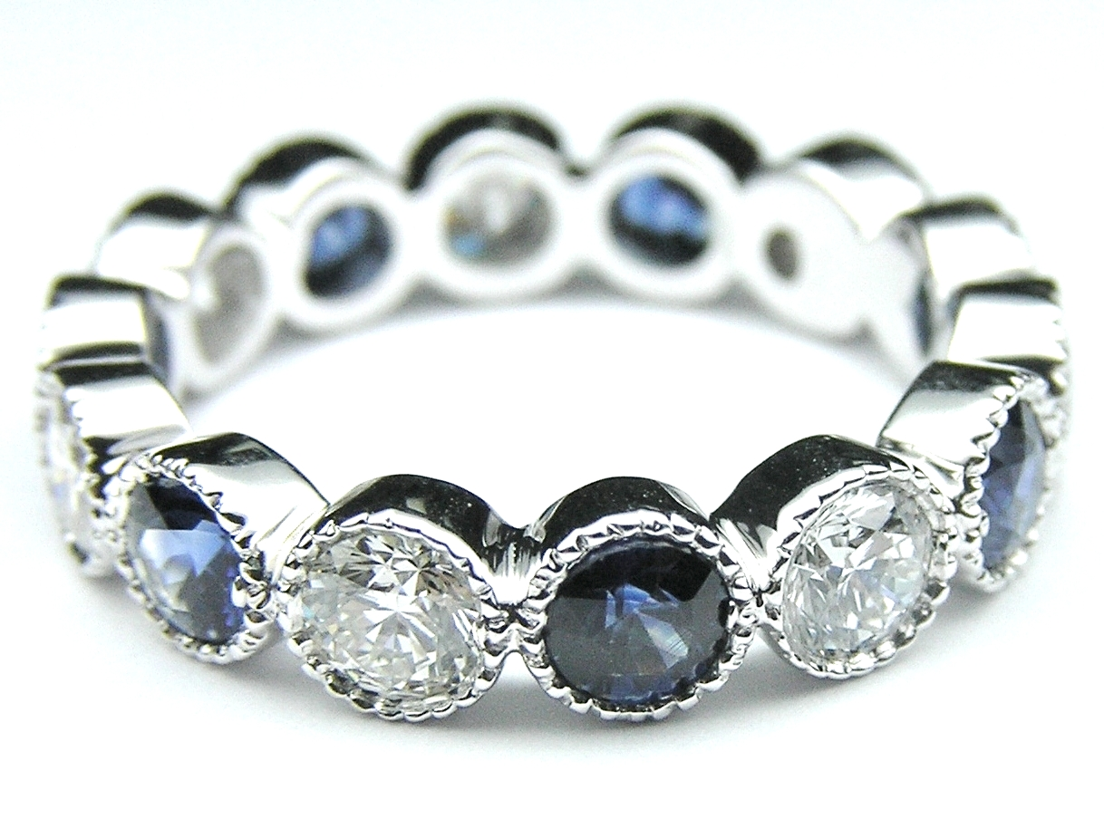 Diamond & Blue Sapphire Vintage Eternity Wedding Ring