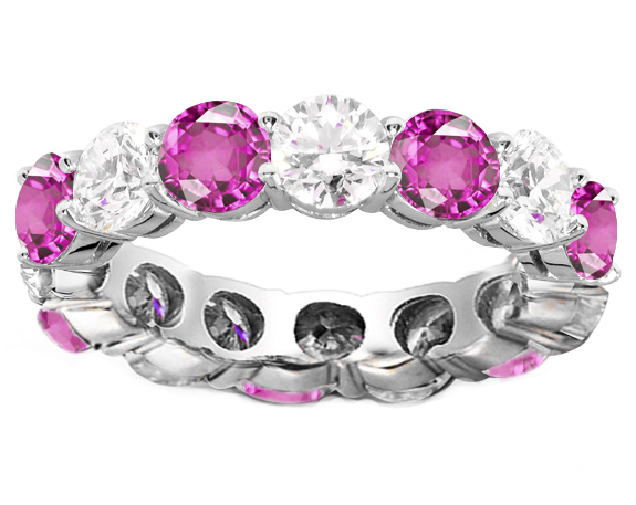 Diamond & Pink Sapphire Eternity Ring 5.05 carat tw in 14K White Gold