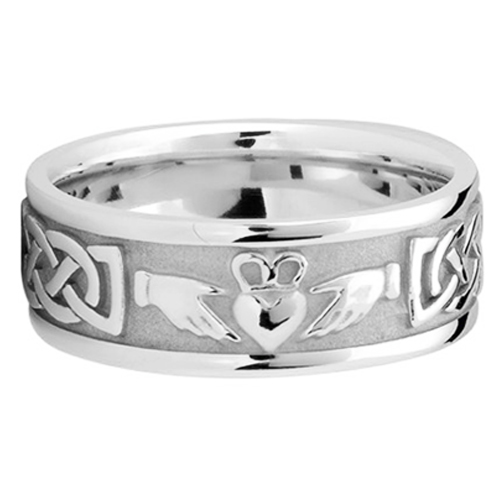 Men's Celtic Claddagh Wedding Ring 8 mm 14K White Gold