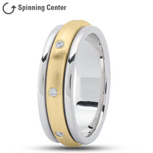 Spinning Diamond  Prayer Ring in 14K Two Tone Gold 0.16 tcw.