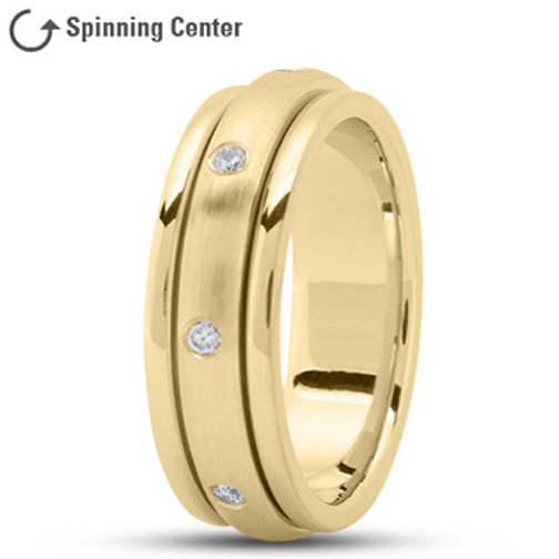 Spinning Diamond Worry Ring in 18K Yellow Gold 0.16 tcw.