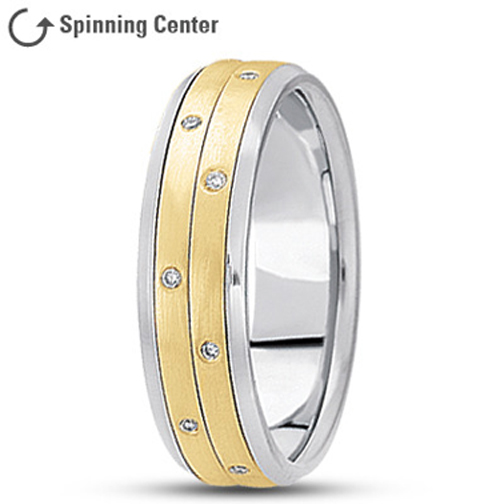 Diamond Two Row Spinner Ring in 14K Two Tone Gold 0.16 tcw.