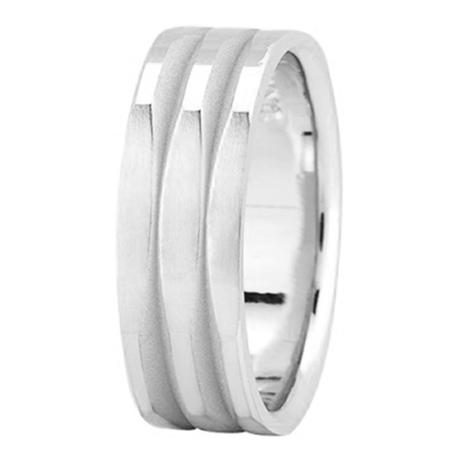 7 mm Men's Polished Square Wedding Band in 14K White Gold