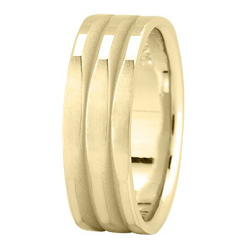 7 mm Men's Polished Square Wedding Band in 18K Yellow Gold