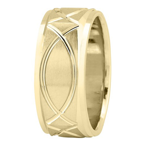 9mm Square Engraved Men's Wedding Ring in Yellow Gold