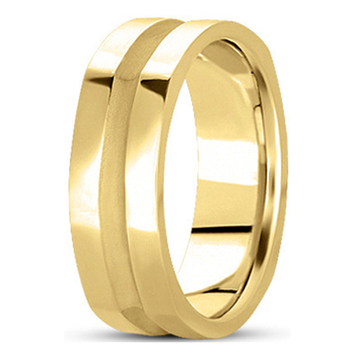 5mm Square Indented Men's Wedding Ring in Yellow Gold