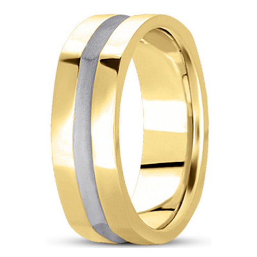 5mm Square Indented Men's Wedding Ring in Yellow and White Gold