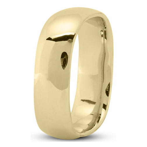 7mm Square Comfort Fit Men's Wedding Ring in Yellow Gold