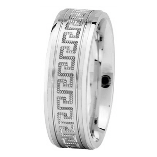 Meander Greek Key Men's Wedding Ring in White Gold 7mm