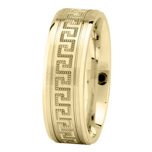 Meander Greek Key Men's Wedding Ring in Yellow Gold 7mm