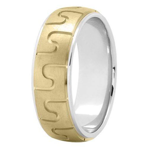 7mm Puzzle Men's Wedding Ring in Two Tone Gold