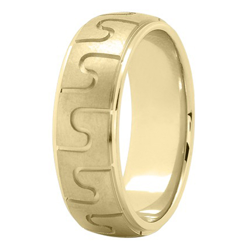 7mm Puzzle Men's Wedding Ring in Yellow Gold