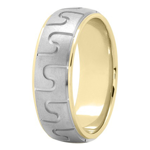 7mm Puzzle Men's Wedding Ring in Yellow and White Gold