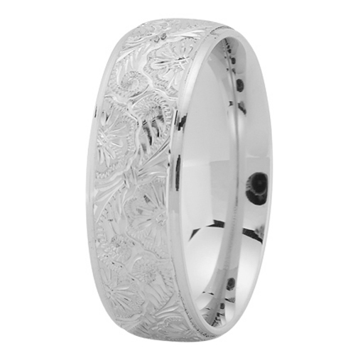 7mm Hand Engraved Men's Wedding Ring in Palladium