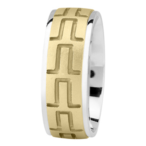 Tire Tread Men's Wedding Ring in Two Tone 8mm