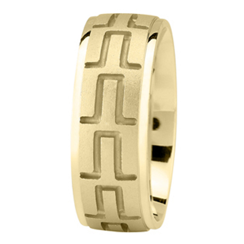 Tire Tread Men's Wedding Ring in Yellow Gold 8mm