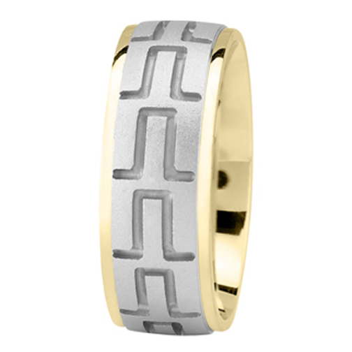 Tire Tread Men's Wedding Ring in Yellow White Gold 8mm
