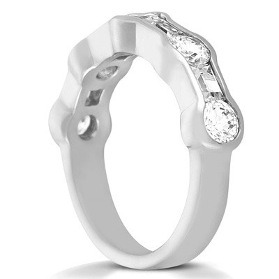 Round and Baguette Channel Set Wedding Band