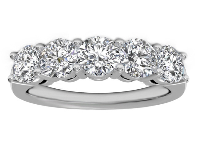 Five Stone Diamond Wedding Ring 2.5 carat TW