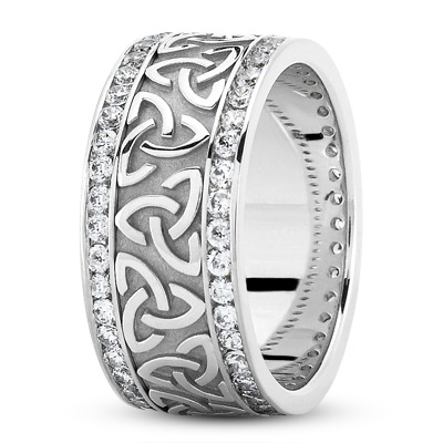 Palladium Celtic Knot Diamond 9mm Wide Wedding Ring