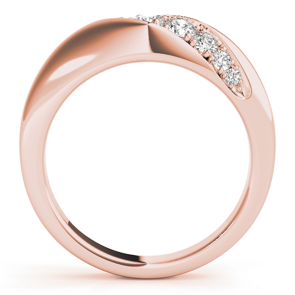 Diagonal Pave Diamond Wedding Band in Rose Gold