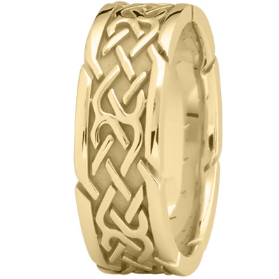 Tire Tread Men's Wedding Ring in Yellow Gold