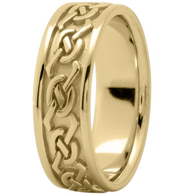 Celtic Men's Wedding Band in Yellow Gold