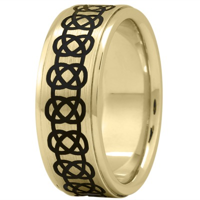 Celtic Men's Ring with Black Rhodium in Yellow Gold