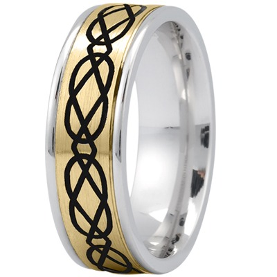 Celtic Mens Ring with Black Rhodium in Yellow and White Gold