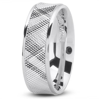 Diamond Cut Concave Men's Wedding Band