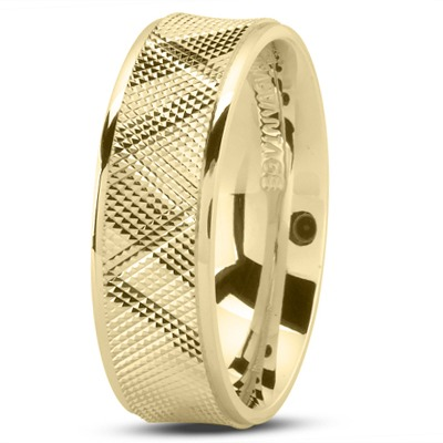 Diamond Cut Concave Mens Wedding Band in Yellow Gold