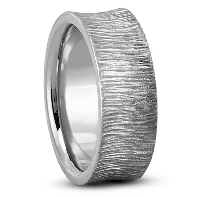 Concave Tree Bark Mens Wedding Band