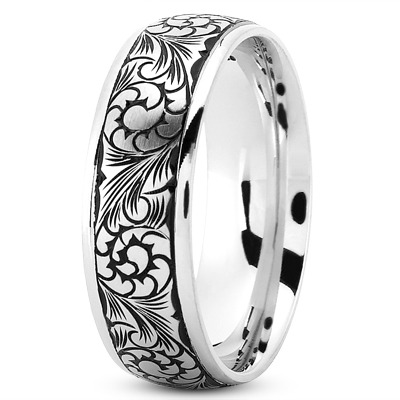 Floral Engraved Black Rhodium Men's Band