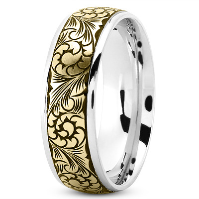 Floral White and Yellow Black Rhodium Band