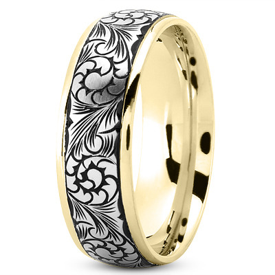Two Tone Black Rhodium Men's Wedding Band