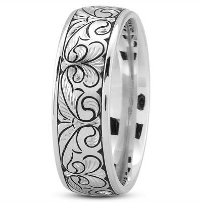 Fleur De Lis Engraved Men's Wedding Band