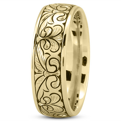 Fleur-De-Lis Engraved Men's Wedding Band in Yellow Gold