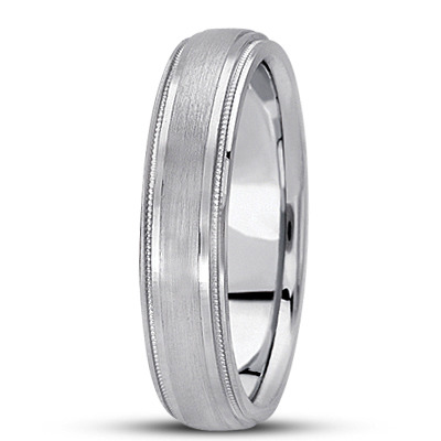 Low Dome Satin Finish Milligrain Men's Wedding Band