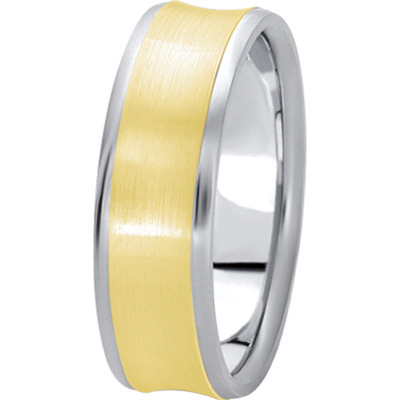 Satin Finish Concave Band in Two Tone