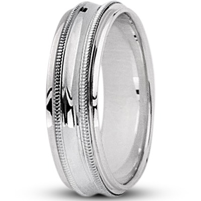 Concave Milligrain Wedding Band