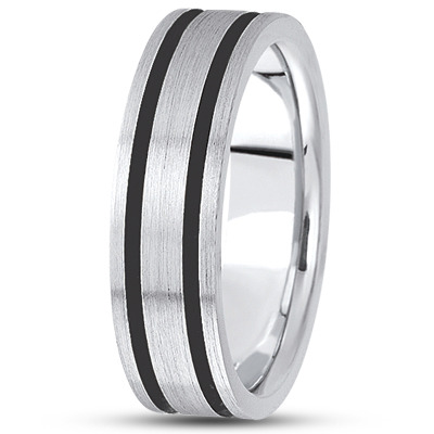 Black Rhodium Satin Men's Gold Band