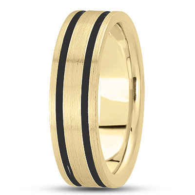 Black Rhodium Satin Men's Yellow Gold Band