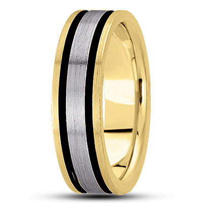 Black Rhodium Satin Men's Two Tone Band