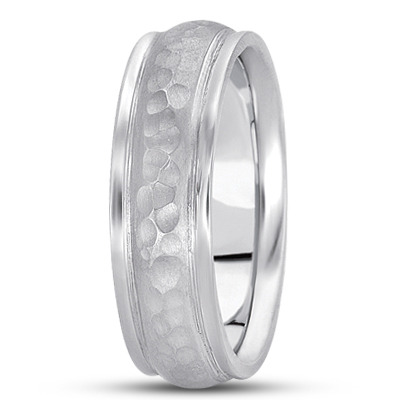 Ridged Hammered Men's Wedding Band