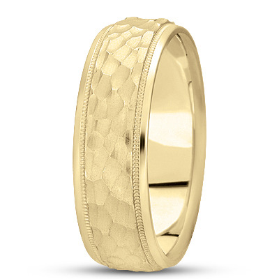 Milligrain Hammered Men's Band in Yellow