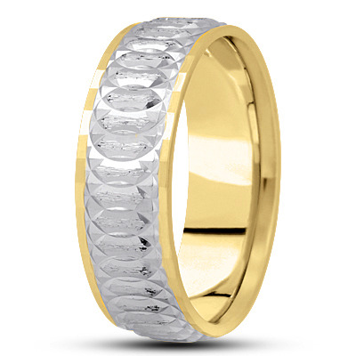 Diamond Cut Bevel Spiral Infinity Two Tone Band