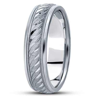 Engraved Diamond Cut Rope Wedding Band