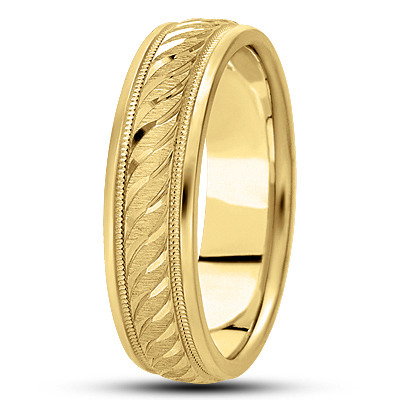Diamond Cut Rope Engraved Yellow Band