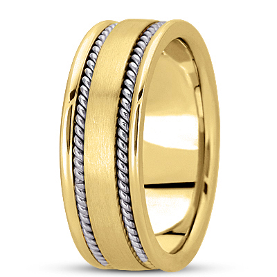 Double Rope Two Tone Men's Wedding Band